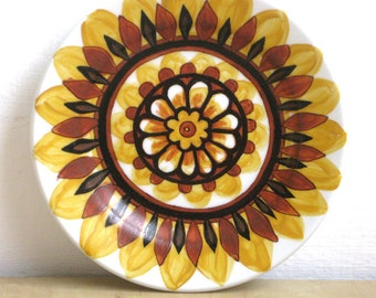 Unique Hand Painted Yellow and Black Sunflower Symbol of Life Ceramic Plate