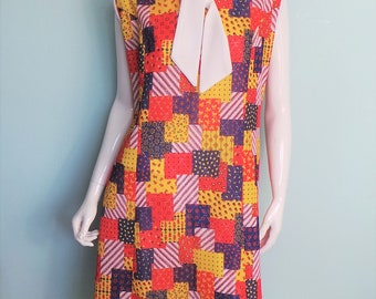 60s Bright Patchwork Sleeveless Dress, Quilt Style Dress with White Scarf Neck, Novelty Print Patchwork Print Knee Dress, 42in Bust, X-Large