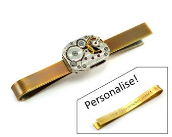 Steampunk Tie Bar, Personalised Steampunk Tie Clip, Watch Movement, Customised, Secret Message