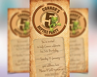 Reptile Invitations for your upcoming party. Accompany with other Reptile themed party printables.