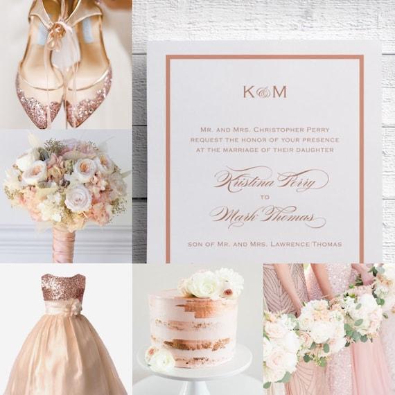 Rose Gold Wedding Invitations Rose Gold Invitation Elegant