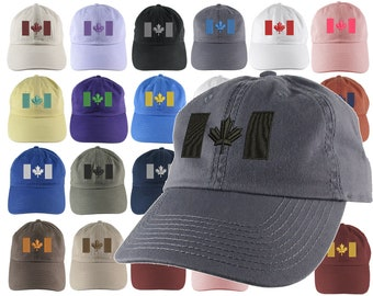 Custom Canadian Flag Your Color Choice Embroidery on Your Selection of an Adjustable Unstructured Baseball Cap Dad Hat Style Canada + Option