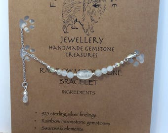 Delicate fluffysmudge rainbow moonstone and swarovski crystal elements with 925 sterling silver bracelet