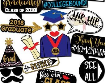 Graduation Photo Booth Props -34 Printable Props, High School, Class of 2018, Cap, Senior, College, Graduation Props -INSTANT PDF DOWNLOAD