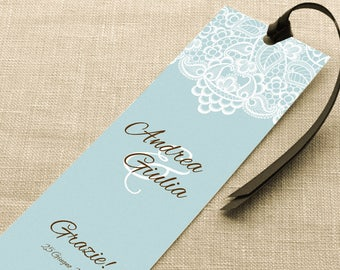 Placeholder to customize for events. Bookmark Thanksgiving Wedding. Fake blue lace placeholder with ribbon or without.