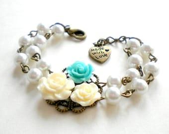 Will You Be My Flower Girl Gift Cottage Wedding Jewelry Flower Girl Bracelet Children Jewelry Flower Bracelet Birthday Gift For Girls