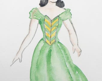 1940's Original Art, Sylvia Baird Vintage Woman in Green Evening Dress Advertising Sketch & Painting