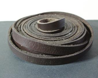 Black Brown leather, 10 x 2.2 mm flat cord 50 cm