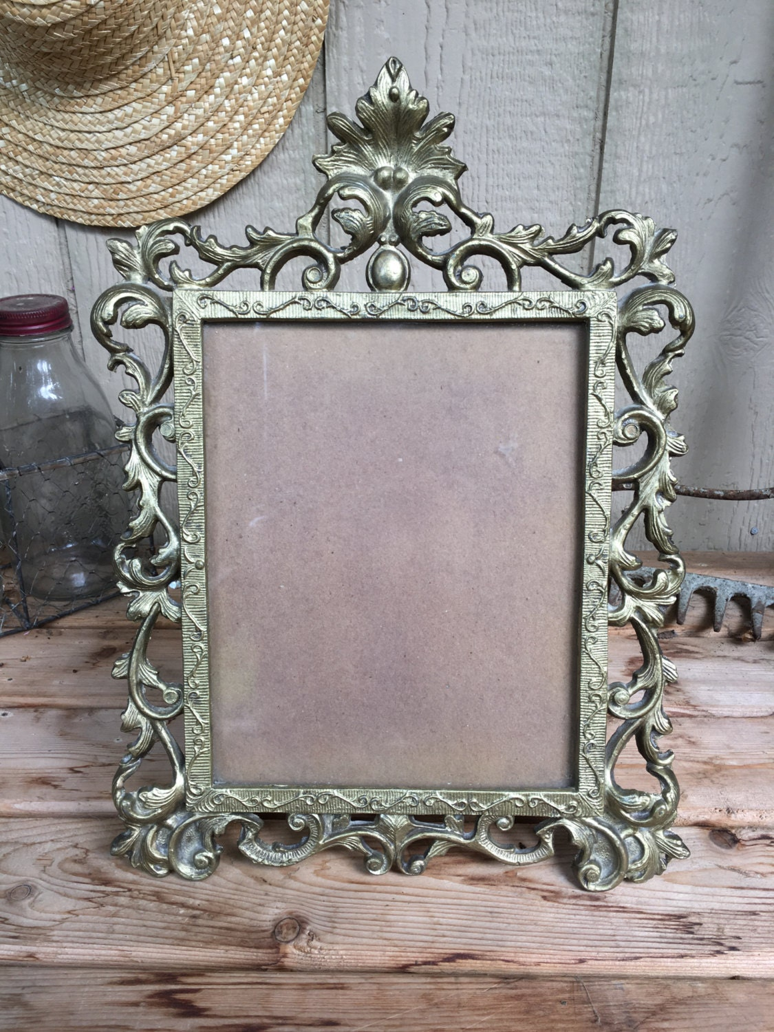Large Ornate Bronze Rococo Style picture Frame with Glass & Board ...