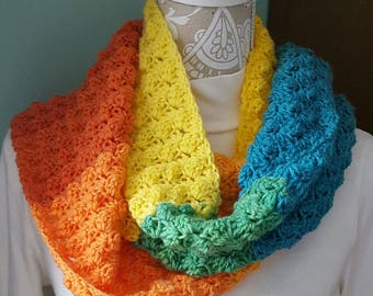 Colorful long Scarf with fringe