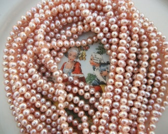 "Vintage Pink Champage Pearls ~ 5mm x 6mm 16"" Strand Freshwater ~ AA+ Quality Natural Beauty"