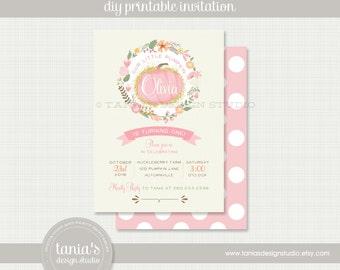 Pumpkin 1st Birthday Printable Invitation by tania's design studio