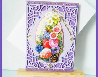 card purple get well, multicolored flowers