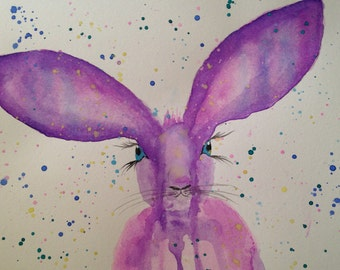 Original Watercolor Rabbit in Purple Tones