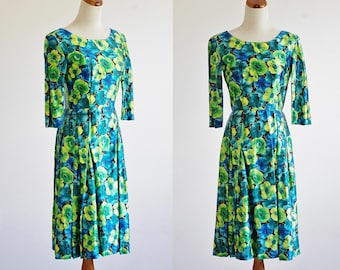 Vintage 60s Cocktail Dress, 1960s Floral Dress, Silk Satin Dress, Cocktail Dress, Three Quarter Length Sleeve Dress, Bust 36 Medium
