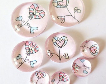 "Lot 8 ""SO CUTE - hearts"" (craftsmanship) theme cabochons 12mm / 20mm / 25mm"