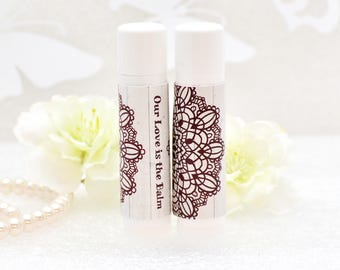 30 Lip Balms with Gloss Rustic Chapstick Labels, Wedding Lip Balm, Wedding Favors, Wedding Party Favors