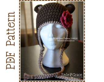 Crochet Bear Hat Pattern, Ear Flap, EMIE and THEODORE BEAR - pdf 124