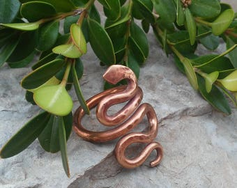 Copper Snake Ring / Rustic Hammered / Textured Snake Ring / Size 6 1/2 Copper Ring / Copper Rod Snake Ring / Copper Jewelry