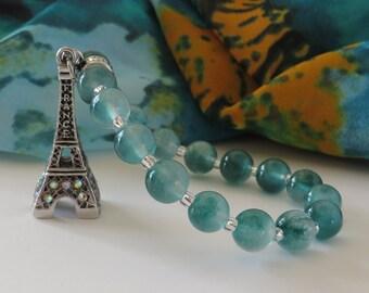 Eiffel Tower Bracelet / Natural Jade Bracelet / Paris Bracelet / France Bracelet / Teal Bracelet / Stretchy Beaded Bracelet - Charming 138