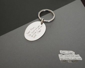 Actual Fingerprint KEYCHAIN - Handwriting Keychain - Fingerprint Disc Charm - Personalized Memorial Gifts - Gift for Her - VALENTINES GIFTS