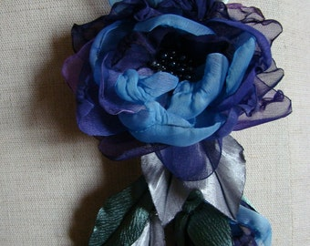 Wedding hair/dress accessories, flower clip and pin, floral hairpiece, bridal hair accessory, plum and blue flowers.