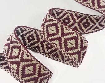 Tribal Aztec Bordeaux Ribbon Trim, Knitted Rhombus Boho Trim for Fashion Crafts