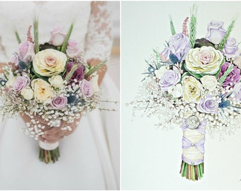 CUSTOM Watercolor Wedding Bouquet Painting Custom Briddal Bouquet  Gift for Mom ORIGINAL Painting Anniversary Gift Painting from photo