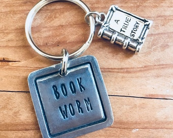 Book Keychain, Book Worm Metal Keychain, Book Lover Gift, Custom Book Lover Gift, Unique Student Gift, Unique Teacher Gift