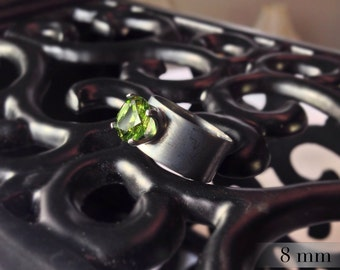 Peridot Wide Band Ring, Engagement Ring August Birthstone, Sterling Silver Ring, Bridesmaids Gifts