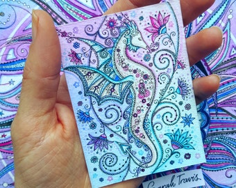 Mini Floral Dragon Print - ACEO size