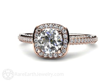 Diamond Engagement Ring Diamond Halo Pave Cathedral 14K or 18K Gold Conflict Free Engagement Ring