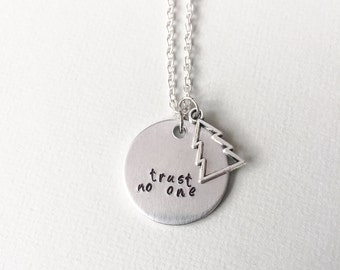Gravity Falls, gravity falls necklace, dipper pines, mabel pines, trust no one, geek gift, gift for her, gravity falls gift
