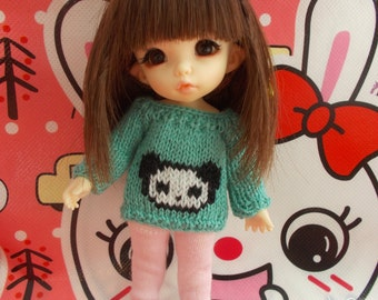 Handmade outfit pullover/cardigan for any kind of dolls (momoko, barbie, fashion royalty, pullip, blythe, bjd...)