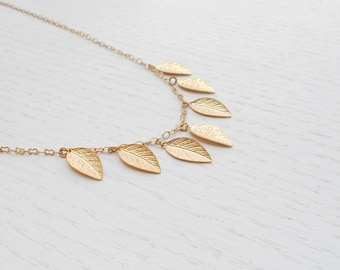 Summer SALE - Gold leaf necklace, Gold leaf charm, Delicate gold necklace