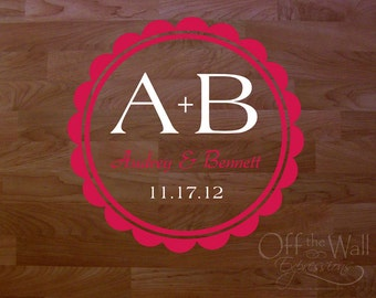 Dance Floor Decal, Scalloped Circle Monogram, Wedding Monogram, Reception Vinyl Decal, Couples Personalized Decor