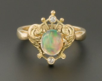 14k Gold Opal Jelly Opal Ring | Antique Pin Conversion Ring | Opal Ring | 14k Gold Ring | October Birthstone