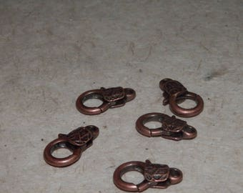 Set of 5 - copper brass lobster clasp