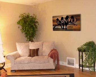 Reclaimed Barnwood Wall Art - Love Birds