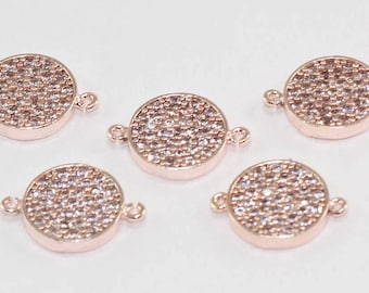 1 Pcs Spacer Beads, 11mm, Rose Gold Plated, Micro Pave Round Zirconia, Round Zirconia, Bracelet Connectors, CZ Space Beads,  MMT96