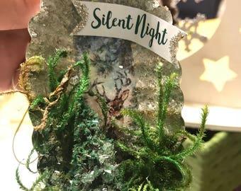 Deer Print | Silent Night| Ornament | Christmas Ornament | Reindeer Ornament | Christmas gift | Tree Ornament | Keepsake Ornaments