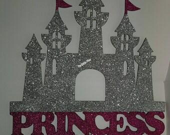 Princess castle plaque, door plaque, princess gift, personalised gift, gift for a princess, castle door plaque, glittered castle, glittered