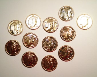 12 Gold Plated Egyptian Coin Charms