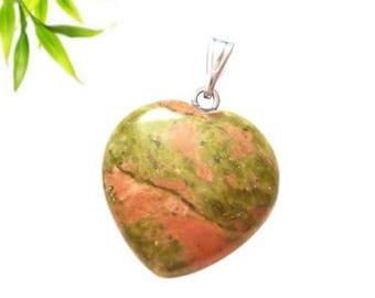 Silver plated heart pendant - unakite