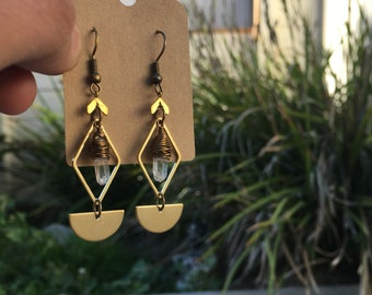 Geometric herkimer diamond crystal earrings