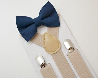 Suspenders SET 8 months- ADULT Kids Children Mens  Baby Boys Light Tan Khaki  Suspenders & Navy Blue Cotton bow tie Wedding Page Boy SET