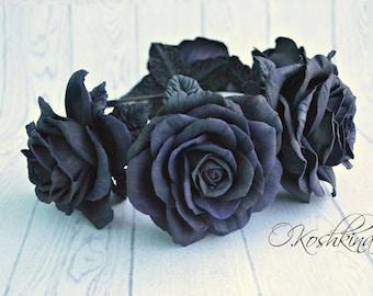 Black Rose Flower Crown, Black Rose Headband, Black Flower Crown, Flower Crown, Rose Crown, Flower headband, Rose Headband, Festival Crown