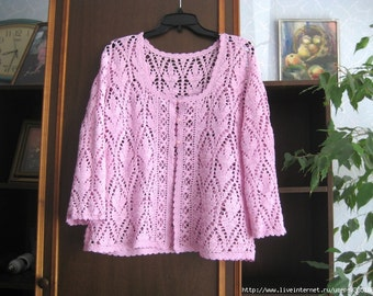 Womens cotton cardigan, lace cardigan, crochet cardigan, knitted waistcoat, Knitted jacket, crochet
