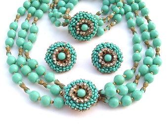 Jahrgang Miriam Haskell Schmuck Set Art-Deco Türkis Schmuck Glas Bead Halskette Armband Ohrringe unterzeichnet Frauen Geschenke