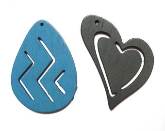 2 large heart charms and wood 50 mm drop